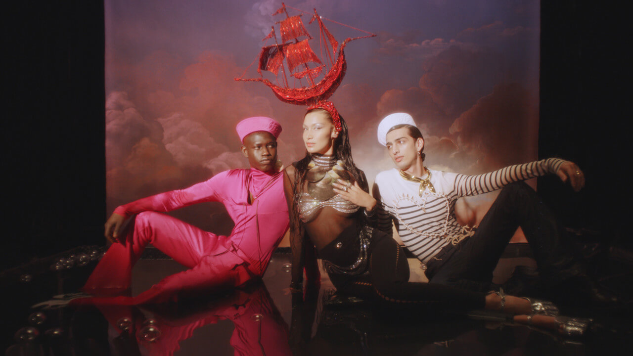Bella Hadid for Jean Paul Gaultier with model Qaher Harhash and Omar Sesay