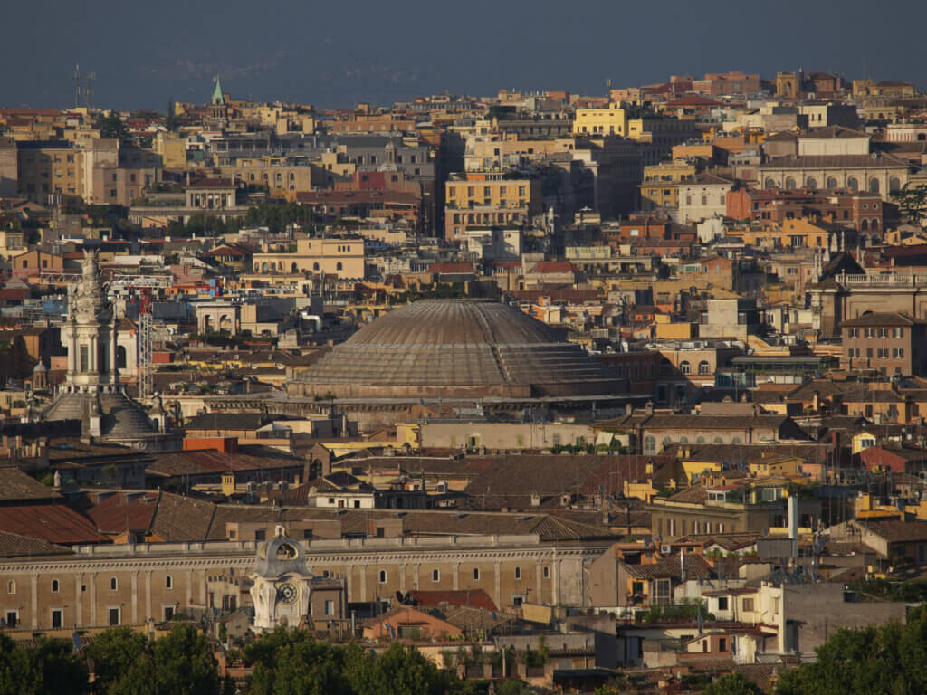 viewpoint, view over sunny rome