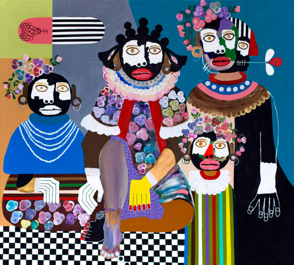 drawing of kojo marfo- four people, with colourful dresses and flowers in their hair
