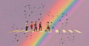 a graphik of people walking over a crossway, in the background, purple, and a rainbow, aroud the people there are birds